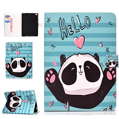 Coopay Bunt Tier Katze Panda Elefant Blumen Totem Kirschblüte Schmetterling Muster Ständer Ledertasche,Bookstyle Tasche Cases Cover Etui Schutzhülle Hülle kompatibel mit iPad Air 2 / iPad 6 9.7 Zoll
