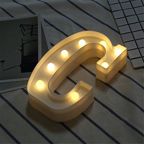 DIY LED Brief Beleuchtung Alphabet Event Dekoration Nachtlichter Stimmungslicht Schlummerleuchten Lampen Kunststoff Dekorationen für Geburtstag Party Hochzeit (C)