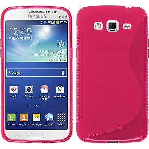 Coque en Silicone pour Samsung Galaxy Grand 2 - S-Style rose chaud - Cover PhoneNatic Cubierta + films de protection