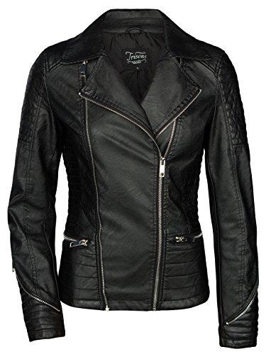 Trisens. Chaqueta de cuero motera corta para mujer, piel sintética, negro y plata negro S