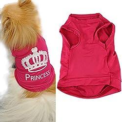 Ropa para Perros,Xinan Mascotas Princesa Camiseta Chaleco Trajes de Puggy (S)