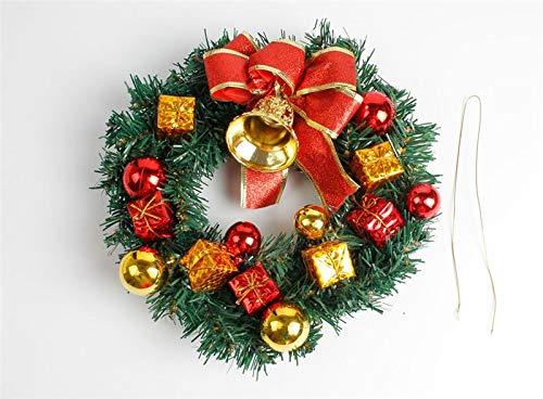 Zygeo - Weihnachtskranz-Tür-Wand Ornament Weihnachtsgirlande Dekoration Bowknot Jingle Bell DIY Weihnachten Anhänger Dekor [30 cm] (Diy Halloween Tür-kränze)