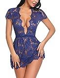 ADOME Negligee Damen Nachtwäsche Nachtkleid V-Ausschnitt Nachthemd Spitze Lingerie Dessous Reizwäsche Set Sleepwear Kleid