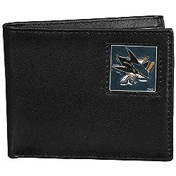 NHL San Jose Sharks Leather Bi-Fold Wallet Packaged in Gift Box, Black