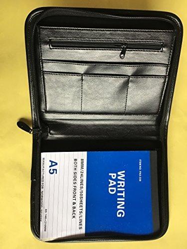 0812A 4DN - 4 trous avec fermeture éclair Noir A5 à vis type Rivets & Lefthand pochette latérale pour iPhone