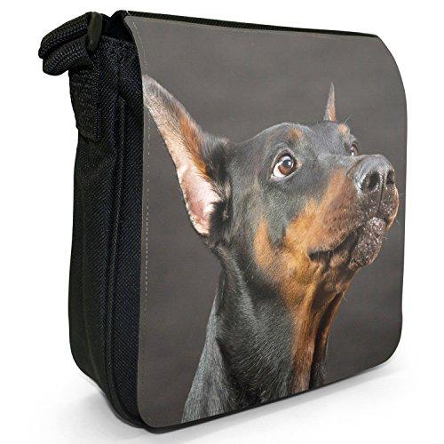 Doberman Pinscher Dog-Borsa a spalla piccola di tela, colore: nero, taglia: S Doberman Pinscher Portrait