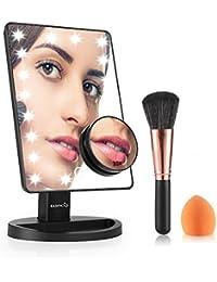 Easehold Miroir de Maquillage Écran Tactile avec Lumière Réglable 21 LED 180 Degrés de Rotation 10X Grossissement pour Chambre ou Salle de Bains (avec Pinceau de maquillage et Brosse à poudre)-Noir