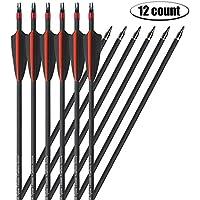 Milaem Flechas de Fibra de Carbono 31 Pulgadas 400 Spine Flechas de Caza de Espina Dorsal para Competición de Tiro con Arco con Anillo a Prueba de Explosiones (Paquete de 12)