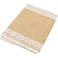 iShine Camino de Mesa- Vintage Encaje Table Runner Natural Jute Para Fiesta Boda de la Vendimia Decoraci¨®n Table del Hogar