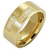 LOUMVE Ringe Edelstahl Hochzeit Cubic Zirconia Vergoldet 8MM Damen Verlobungsring mit Gravur Größe 60 (19.1)