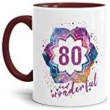 Tassendruck Geburtstags-Tasse 80 and Wonderful Geburtstags-Geschenk zum 80. Geburtstag ALS Geschenkidee für die Frau/Abstrakt / Bunt/Kaffeetasse / Innen & Henkel Weinrot