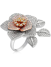 SHAZE Silver Rose Ring|Rings for Women Stylish|Ring for Girlfriend