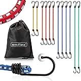 emflex GS-MAX Profi Spanngummi Set [12 Stück] inkl. Tasche - MARKTINNOVATION - Expander mit Haken & voll-integrierten Kratzschutz-Kappen - Universal Gepäckspanner