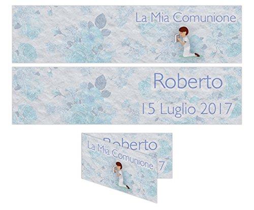Bigliettino confetti comunione 5x2,5 cm 20pz - personalizzabile maschio partecipazione personalizzata