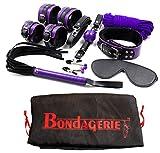 BONDAGERIE® Kit Bondage Nero e Viola 8 Pezzi, sacco in raso in omaggio