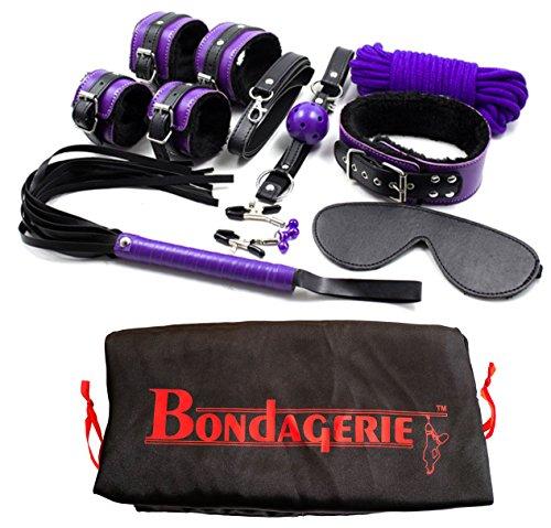 """BONDAGERIE Kit modello""""Master"""", Viola e Nero, da 8 Pezzi, con sacco in raso incluso"""