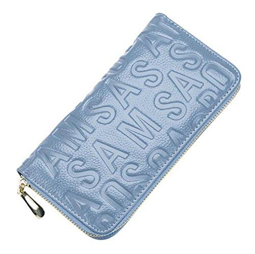MeiliYH Ladies Long Sezione Cuoio in rilievo Lettera con Zippered Portafoglio Azzurro