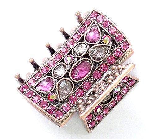 rougecaramel - Accessoires cheveux - Pince crabe cheveux métal cuivré et strass - rose