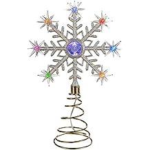 estrella para rbol de navidad con luces led de colores diseo de copo