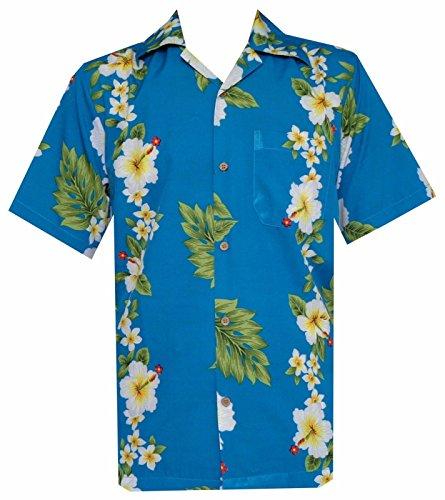 Hawaii-Hemd für Herren Hibiskusblüten-Aufdruck, für Strand / Party Gr. X-Large, türkis (Hawaiian Camp-shirt Mens)