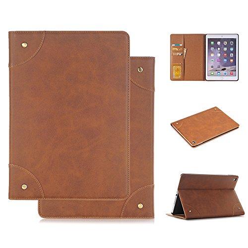 Coque iPad 2/3/4 en Cuir, elecfan très Mince 9.7 Pouces Housse de Support Folio Faux Cuir Simple et Élégant Coque Style Vintage Étui pour iPad avec Emplacement pour Carte (Marron Clair, iPad 2 iPad 3 iPad 4)