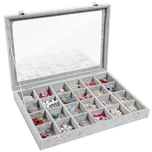 Valdler vetro coperchio scatola espositore display dimostra porta 24 griglia per gioielli