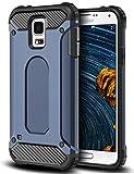Coolden Samsung Galaxy S5 Hülle, Premium [Armor Serie] Outdoor Stoßfest Handyhülle Silikon TPU + PC Bumper Cover Doppelschichter Schutz Hülle für Samsung Galaxy S5 (Blau)