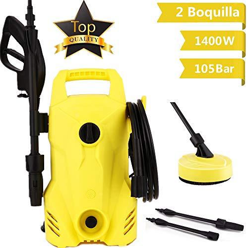 Voluker Hidrolimpiadora,1400 W,105 Bar,300 L/H,Limpiadoras a presión,2 boquillas,Manguera de 5m,Limpiadora de alta...