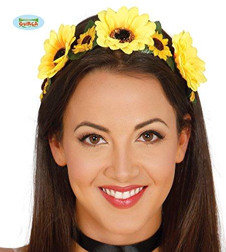 (70er Jahre Blumenkranz Haarband für Damen gelb Hippie Fasching Party Zubehör)