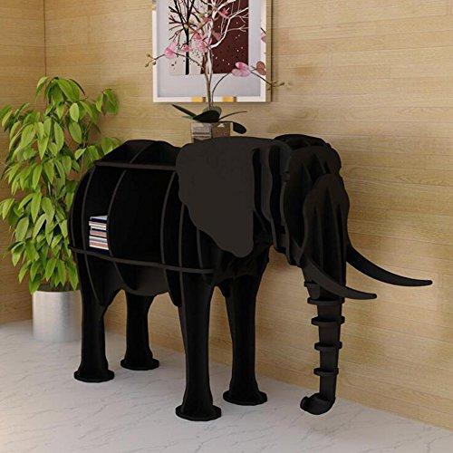 ORPERSIST Regal Landung Lagerung Ornamente Holz Bogen Elefanten Modellierung Bücherregal Einrichtungsgegenstände Fenster Display Gelb/Weiß/Schwarz/Rot (S/M),Black,S (Modellierung Dvd)
