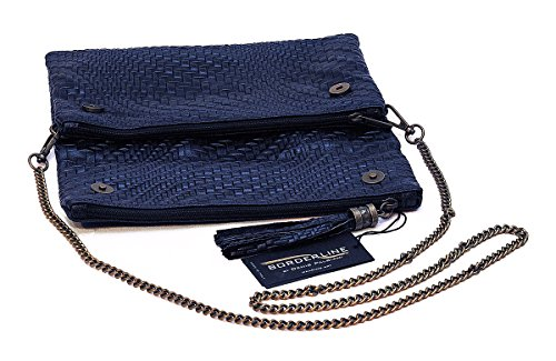 BORDERLINE - 100% Made in Italy - Pochette in Vera Pelle stampata CRISTINA Blu