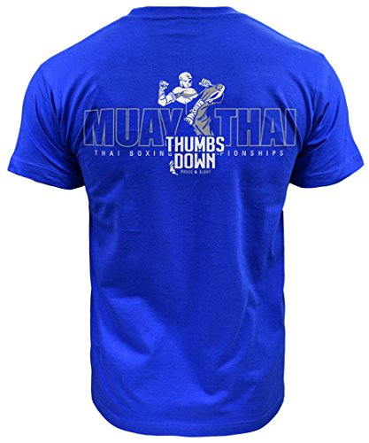 Muay Thai Thumbsdown Division T-shirt (Größe Large) (Blaues Top Division T-shirt)