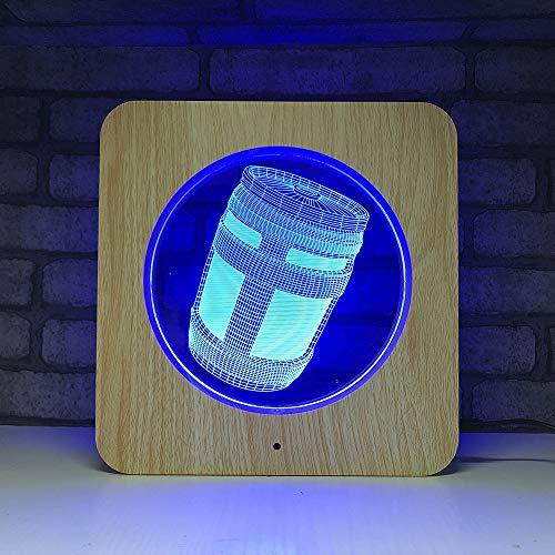 Chug Jug 3D Nachtlampe Kunststoff Holzmaserung Linie Spiel Serie USB Tischlampe für Room Decor für Urlaub Tag Geschenk Dropship - Tag Jug