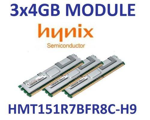 3 x 4GB = 12GB Hynix DDR3 1333Mhz PC3-10600R 240pin, ECC Registered, 128Mx8, Quad Rank, DIMM, CL9, Part# HMT151R7BFR8C-H9 - Ecc, Registered Quad