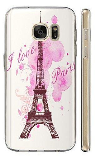 Hülle für Samsung Galaxy A5 2016 Hülle Softcase TPU Handyhülle für Samsung A5 2016 Cover Backkover Schutzhülle Slim Case (1078 Eifelturm Paris Frankreich Rosa Pink)