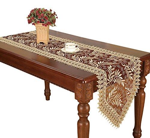 Simhomsen Burgund Lace Läufer und Dresser Schals Bestickt beige Leaf, beige, 16 * 48 Inch -