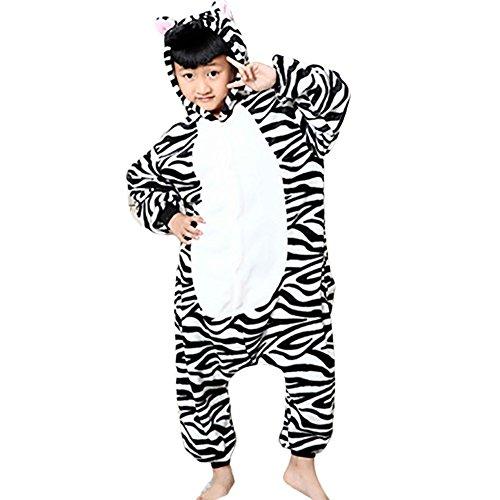 GWELL Kinder Kostüm Tier Kostüme Schlafanzug Mädchen Jungen Winter Nachtwäsche Tieroutfit Cosplay Jumpsuit Zebra Körpergröße (Mädchen Zebra Kostüme Für)