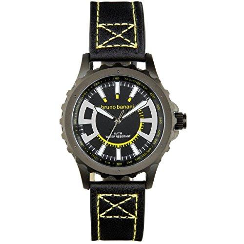 Bruno Banani Men's Quartz Watch Meros Leather Bracelet Black Dial schwarz Trend Watch UBR30023