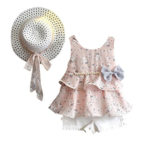 for 1-6 Years Old Kids Clothes Set//3PCS Toddler Baby Kid Girl Outfits Clothes Floral Vest T-Shirt+Pants+Sun Hat Set (Pink, 3-4T)