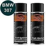 TRISTARcolor Autolack Spraydosen Set BMW 307 Dunkelgruen II Basislack Klarlack Sprühdose 400ml