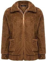 881866d1146f2 FISOUL Femmes Manche Longue Streetwear Jacket Mode Hiver Chaud Peluche  Blouson