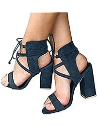 Minetom Sandalias Mujeres Verano Sandals Peep Toe Zapatos De Playa Moda Casual Tacones Altos Tacón Ancho Fiesta...
