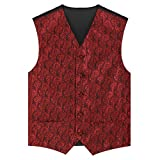 Zicac Mens Classic Retro Swirl Paisley Jacquard Wedding Waistcoat 5 Button Marriage Paisley Microfiber Christmas Tuxedo Scroll Microfiber Vest Gilets (40, Wine Red)
