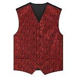 Zicac Mens Classic Retro Swirl Paisley Jacquard Wedding Waistcoat 5 Button Marriage Paisley Microfiber Christmas Tuxedo Scroll Microfiber Vest Gilets (40, Wine Red)