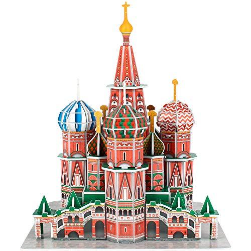 CubicFun 3D Puzzle Basilius-Kathedrale Russland Architekturmodellbausatz Souvenirgeschenk für Erwachsene und Kinder, 92 Teile