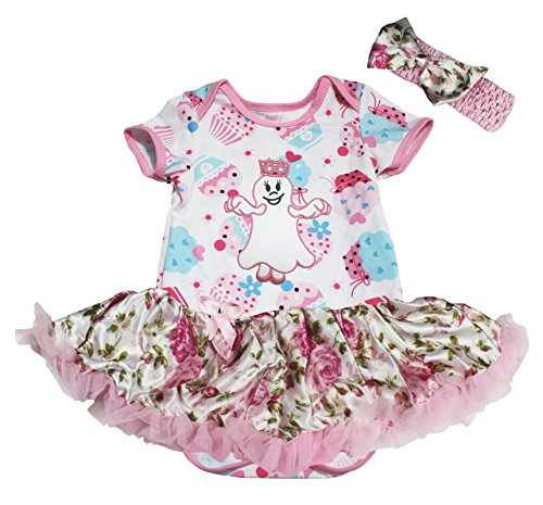 Petitebelle Halloween Baby Dress Little Ghost Cupcake Bodysuit Rose Tutu Nb-18m (0-3 Monate)
