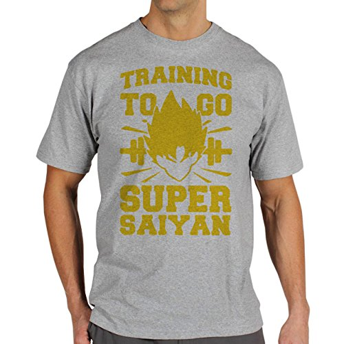 Training To Go Super Saiyan Sport Dragon Ball Goku Yellow Herren T-Shirt Grau