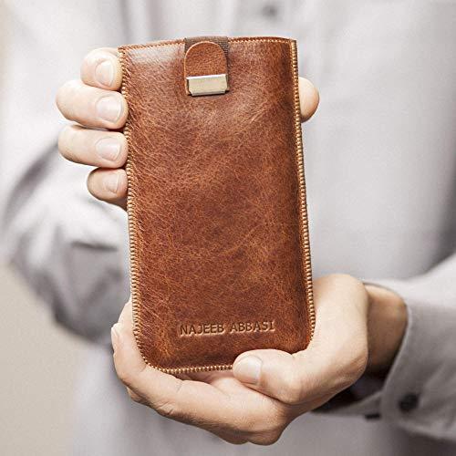 Leder Hülle Tasche Etui Cover Case personalisiert durch Prägung mit ihrem Namen, Monogramm für BlackBerry KEY2 LE Motion KEYone DTEK60 DTEK50 Priv Porsche Design P9983 Graphite Leap