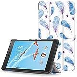 Lenovo Tab 7 Essential Hülle - Ultra Dünn und Leicht PU Leder Schutzhülle mit Standfunktion für Lenovo Tab 7 Essential 17,78 cm (7 Zoll) Tablet-PC, Blaue Federn (Nicht für Lenovo Tab3 7 Essential)