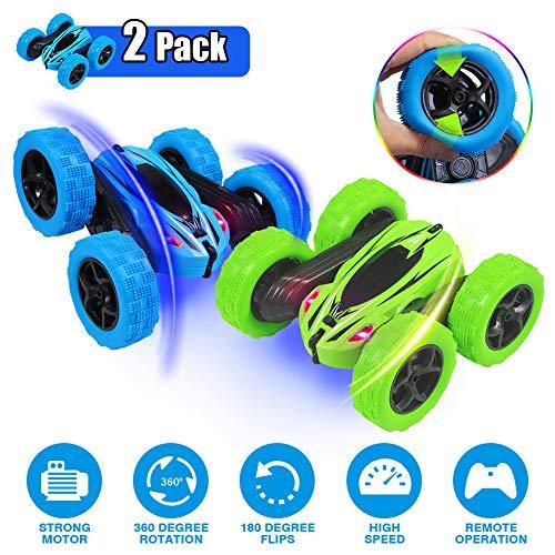 ThinkMax 2 Stück Ferngesteuertes Auto Kinder, 4WD 2,4 GHz RC Stunt Auto, 360 Spins und Flips Tumbling Spielzeugauto, Blau + Grün